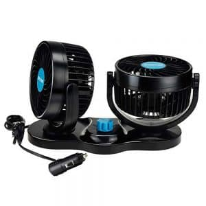WIOR 12V Dual Head Adjustable Car Fan